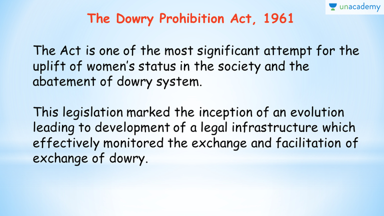objectives of dowry prohibition act 1961