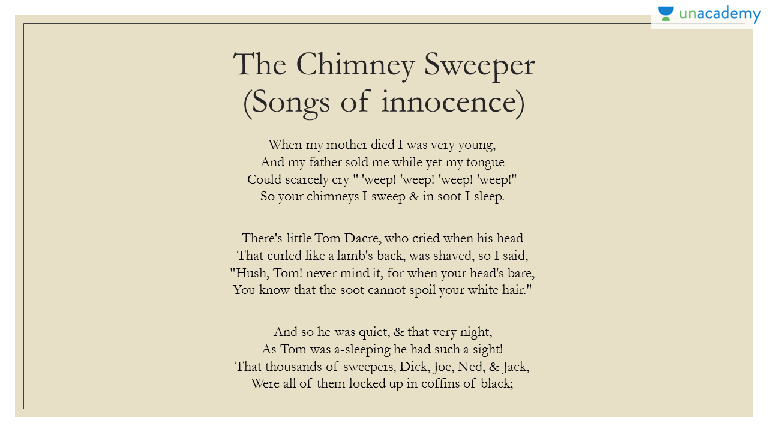 an analysis of the poem the chimney sweeper by william blake The chimney-sweeper  read poems by this poet william blake was born in london on november 28, 1757, to james, a hosier, and catherine blake  william blake was.