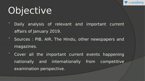 Overview: Current Affairs January 2019