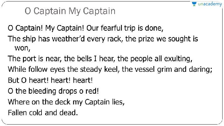personification in o captain my captain