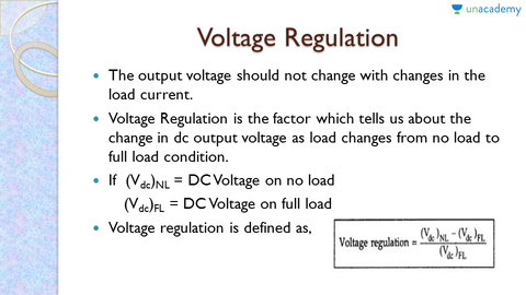 Analysis of Half Wave Rectifier - Voltage Regulation