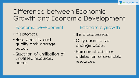 what is the difference between economic growth and economic development