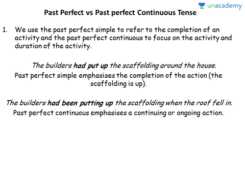 Past Perfect vs Past Perfect Continuous Tense