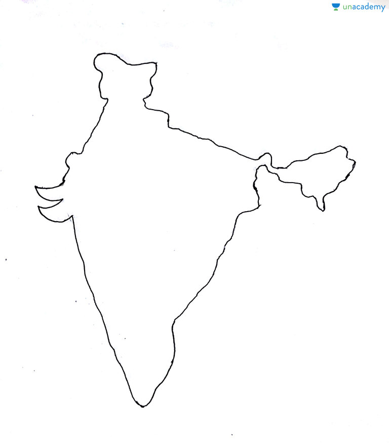 India Map Drawing How to Draw India Map within 5 10 secs in Mains Exam | Draw Maps  India Map Drawing