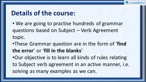 Hindi English Grammar Exercises On Subject Verb Agreement Unacademy