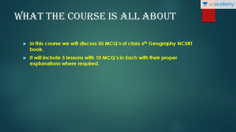 MCQs from NCERT Class 6 Geography