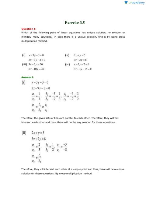 ncert maths solution class 10th exercise 3.5