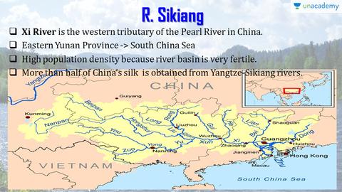 Xi River China Map.Rivers Sikiang Chindwin Hwang Ho Yangtze Yalu In Hindi