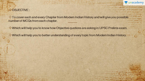Chapter wise MCQs on Modern Indian History - Unacademy