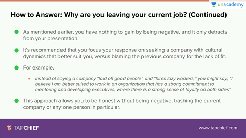 How To Answer 'Why Do You Want To Leave Your Job?'