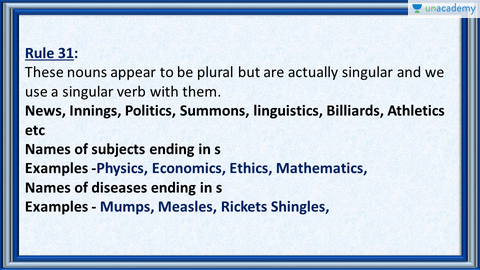 Rule 31 Nouns That Appear To Be Plural But Are Actually Singular