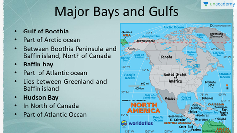 North America Major Gulfs Bays Lakes Rivers Major Continents