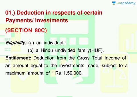 (Hindi) Deduction U/S 80 C to 80 U under Income Tax Act ...