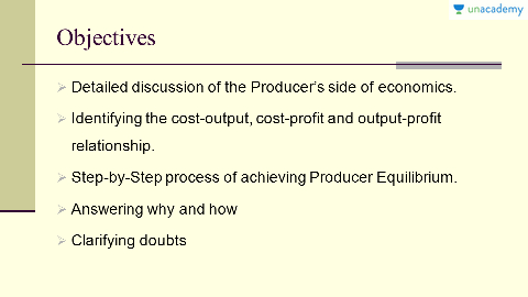 Theory of a Firm - Producer Behaviour