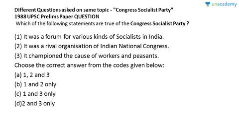 congress socialist party upsc