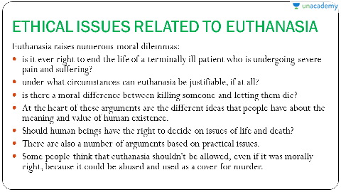 ethical issues surrounding euthanasia Ethical problems of euthanasia does an individual who has no hope of recovery have the right to decide how and when to.