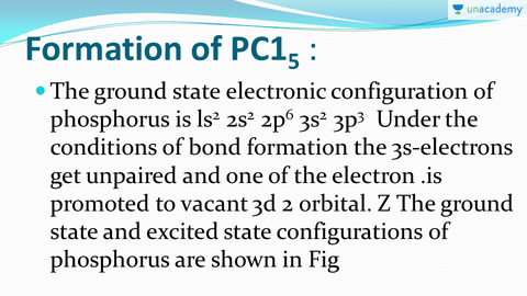 Formation Of Pcl5 Pf5 Sp3d2 Hybridization Hindi Chemical Bonding And Molecular Structure From Ncert For Neet Jee Unacademy