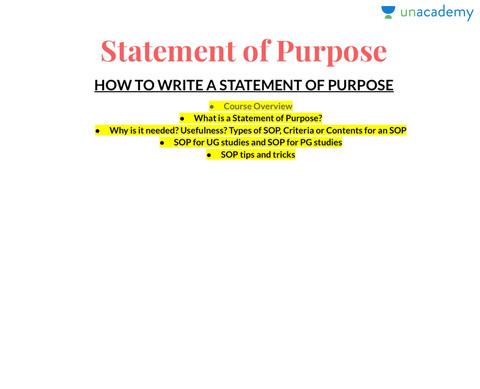 How To Write A Statement Of Purpose Sop  Unacademy